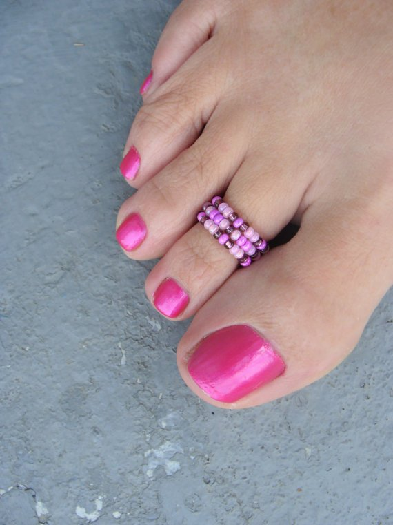 Purple Passion Bead Stretchable Toe Ring