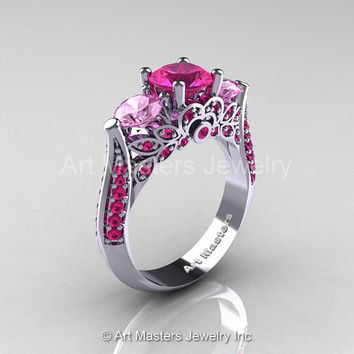 Art Masters Classic 14K White Gold Three Stone Pink and Light Pink Sapphire Solitaire Ring R200-14KWGLPSPS