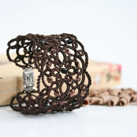 Brown lace bracelet Chocolate, coffee brown, tatted bracelet, wide bracelet, cuff bracelet,  tatting jewelry