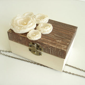 Pearl Wedding Ring Box,  Rustic Ring Bearer Box, Engagement  Ring  Box , Shabby Chic, Ivory Brown  Wedding  Ring Holder