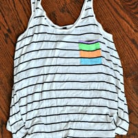 Repurposed Flowy Striped Tank Top