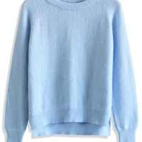 Pastel Blue Pearly Angora Sweater Blue S/M