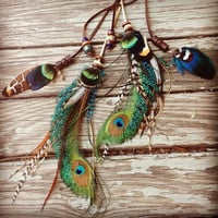 Foxy braided leather and peacock feather headband belt lariat by Bdii