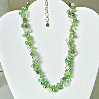 Crochet  Lime Green Statement Necklace