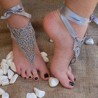 Bridal wedding shoes Gray silver crochet barefoot sandals, Gypsy,Beach, Graduation day, Hand Crochet,Victorian, Sexy,  Lolit