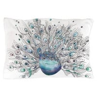 """Peacock Pillow case - watercolor and ink """"Glory Days"""" peacock  purple, blue, teal bedroom decor, art, curate the bedroom"""