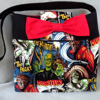 Hollywood Horror Monsters Shoulder Bag with Red Cotton Interior and Red Cotton Big Bow