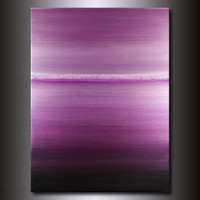Purple Abstract Horizon Painting: Monochromatic 30x40
