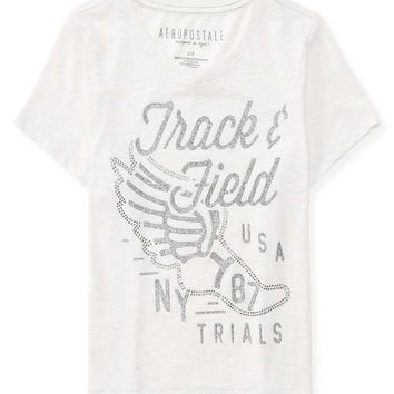 Aeropostale Sparkle Sports Cropped Graphic T - Vanilla And Vanilla Heather,