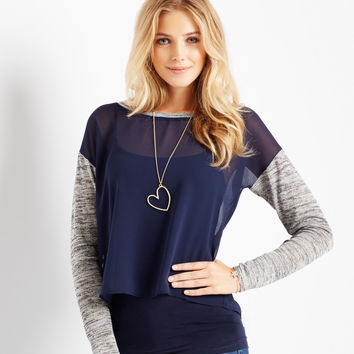 Aeropostale Long Sleeve Sheer Tulip Back Top - Classic Navy,