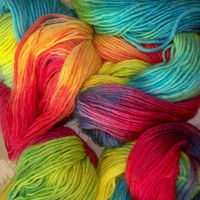 77 yds Rainbow Handspun Handpainted Yarn  / Etsy Rainbow Yarn / Makes Waldorf Doll Hair