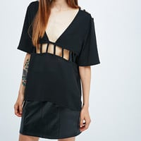 Pins & Needles Cut-Out Tee in Black - Urban Outfitters