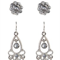 Set of 3 Earrings with Studs and Stone Chandelier Earrings