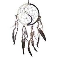 "Dream Catcher ~ Handmade Traditional Yin & Yang 6.5"" Diameter & 16"" Long"