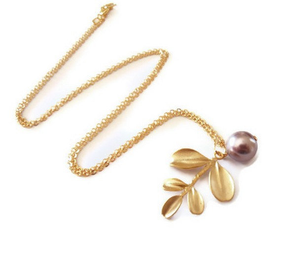 pearl necklace, golden leaf pendant necklace, simple modern necklace, gold plated pearl necklace