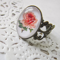 Pink Rose Cameo Ring - Filigree Cabochon