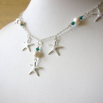 Starfish Neckace with fresh water pearls & teal swarovski crystals - Bridal Necklace for beach Wedding - FREE SHIPPING
