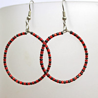 Red and Black Beaded Hoop Earrings - Dangles