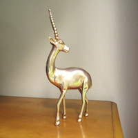 Vintage Brass Antelope Figurine, Impala Figure, Gazelle, Ram, Deer, Oryx, Gerenuk, Hollywood Regency