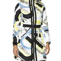 Women's Belted Fur-Trimmed Hood Quilted Coat with Print, Multicolor - Emilio Pucci - Grigio/Limon