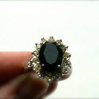 Vintage Silvertone Ring with Black Center and Small Yellow Rhinestones