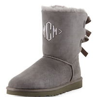 Monogrammed Bailey Bow-Back Short Boot, Gray - UGG Australia - Grey