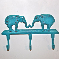 Elephant Cast Iron Wall Hook / Turquoise /Shabby Chic Decor / Jewelry Holder /Nursery /Bathroom fixture /Distressed