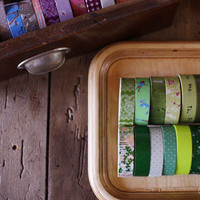 3 rolls of your choice - Japanese Washi Masking Tapes in Green Colours