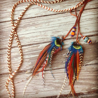Teal orange and brown braided leather and feathers headband or belt by Bdii