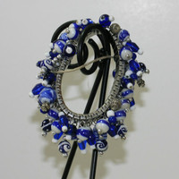Blue and white cha-cha bracelet
