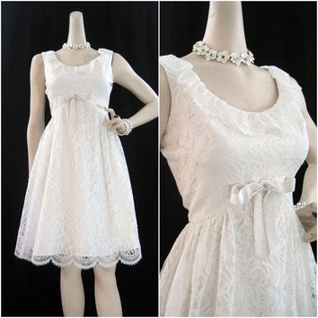 60s Dress Vintage MOD White Lace Wedding Cocktail Party S M