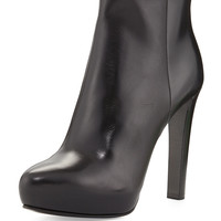High-Heel Leather Ankle Boot - Prada - Black