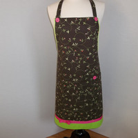 Perky Pink and Green Apron   O.O.A.K.