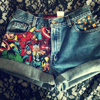 The AVENGERS Marvel Cuffed High Waist Studded Levi Shorts
