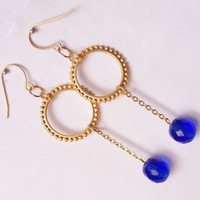 Dangling earrings, circle charm earrings, blue crystal earrings by SABOTAGEandCO