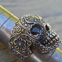 Sugar skull ring in sterling silver with black cz's for eyes