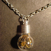 Steampunk Necklace- Gears and Watch Parts in a Tiny Round Bulb shape Bottle Vial (518)