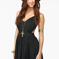 Crossed Chiffon Dress - Black