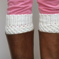 Crochet Boot Cuffs in Cream - Vanilla Cream Boot toppers