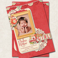 Baby Girl Birth Announcement Thank You Shower, cherry red, polka dot, floral, Digital File