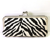 Frame Clutch in Black and White Zebra Print Fabric