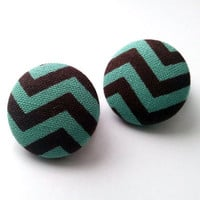 Light teal and brown chevron button earrings
