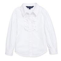 Ruffled Broadcloth Shirt, White, Sizes 4-6X - Ralph Lauren Childrenswear