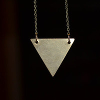Inverted Brass Triangle Necklace