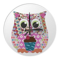 Appliqué Patch Owl Round Clocks from Zazzle.com
