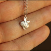 Happy Honeybee Necklace in Matte Silver