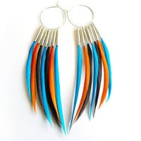 CHRISTMAS in July SALE Interchangeable Feather Earrings in Turquoise, Orange and Brown