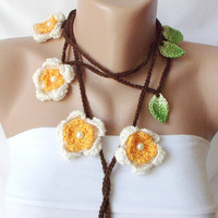 Spring Flower Lariat, Scarf, Necklace, handmade, crochet