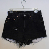 Levi High Waisted Black Denim Shorts Vintage 90s Highwaisted Distressed Cutoffs Cut Off Size 29 / 10 / 11