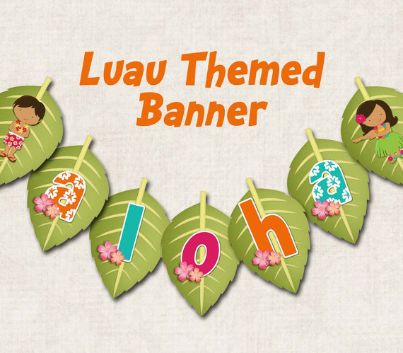 aloha luau birthday party banner from missbellaexpressions on. Black Bedroom Furniture Sets. Home Design Ideas